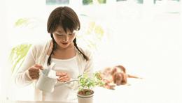 鉢に水をやる女性
