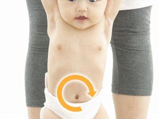 赤ちゃんのおへそを中心に右回りの矢印