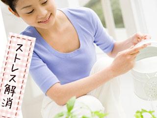 鉢植えに水をやる女性