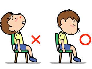 俯きながら椅子に座る子供のイラスト