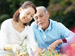 一緒に花の手入れをする熟年夫婦