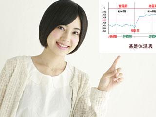 基礎体温表を指差す女性
