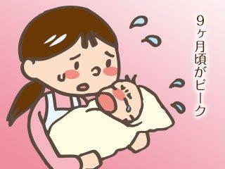 泣く子に困惑する母親