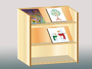 本の表紙を見せて置く棚