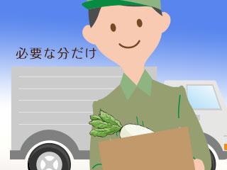 野菜を箱に入れて運ぶ宅配ドライバー