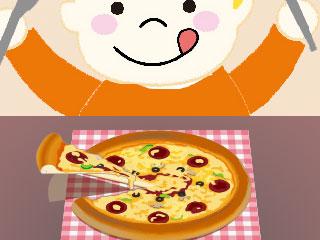 ピザを前に舌なめずりする子供