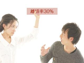 女性が手に持った離婚率の紙に驚く男性