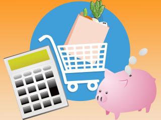 電卓と買物カートと貯金箱