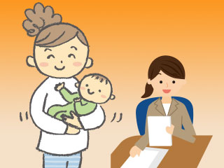 赤ちゃんを抱いた母親と事務をする女性