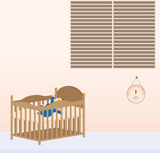 ベビーベッドと赤ちゃんのお部屋