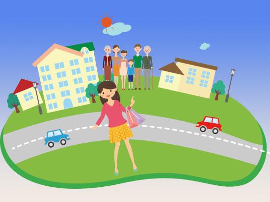 街の中に立つ女性一人