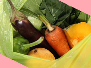 買物袋に入った野菜