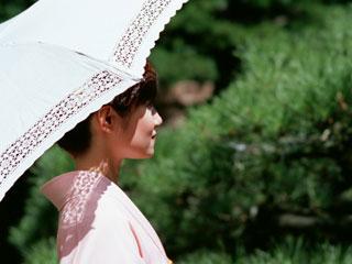 日傘を差して歩く着物姿の女性