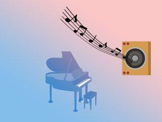 スピーカーからピアノの曲が流れている