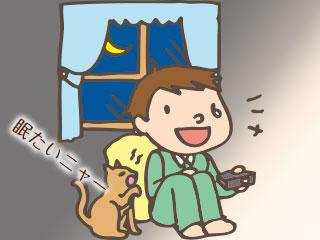 深夜にテレビゲームをする子供