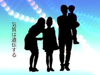家族のシルエットとDNA構造