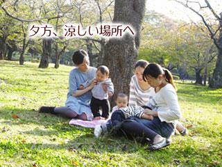 公園の木陰で赤ちゃんと涼む親達