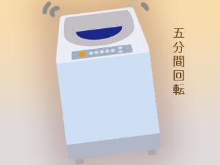 稼動中の洗濯機