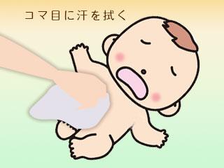 赤ちゃんの体を拭く母親の手
