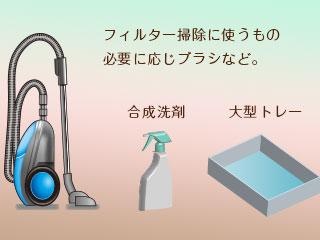 掃除機、洗剤、トレー