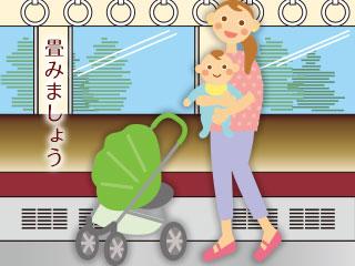 ベビーカーから赤ちゃんを降ろして抱く母親