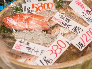 売り場に並ぶ鮮魚