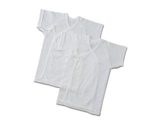 半袖短肌着2枚組 フライス(ホワイト)