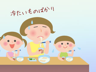 ソーメンを食べる親子