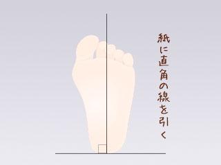 直角の線の上にのった足