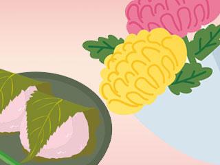 お菓子と菊の花