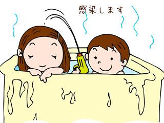 ママと一緒に湯船に入る子供