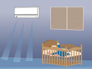 エアコンが稼動する夜のベビールーム