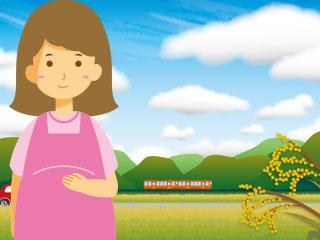 田舎の風景の前に立つ妊婦