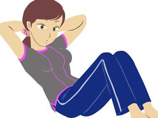 腹筋運動する女性