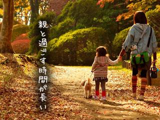 親子で公園を散歩