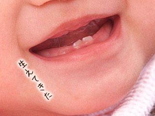 下の前歯が生えた赤ちゃん