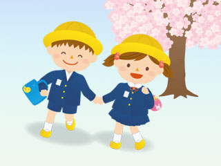 桜の下を手を繋いで歩く幼稚園児