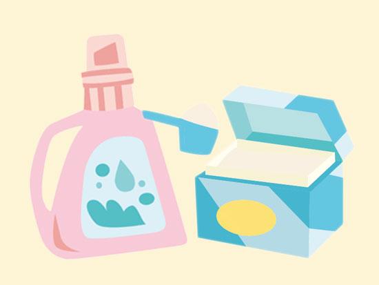 重曹と洗濯用洗剤と混ぜて使う