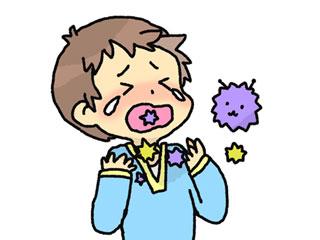 喉を痛がる子供とウィルス