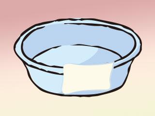 洗面器とタオル