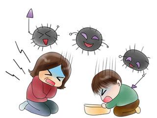 ウィルスと嘔吐する男女