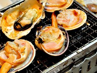 コンロで貝を焼く
