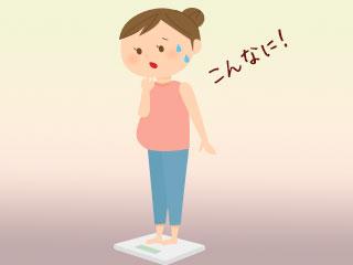体重計に載って驚く妊婦