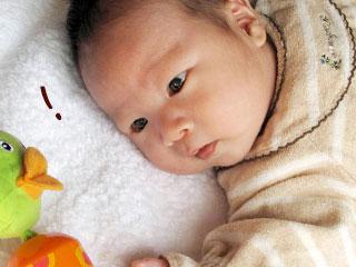 枕もとの玩具を見る赤ちゃん