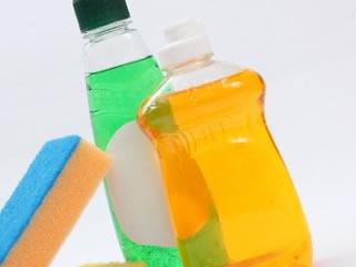 網戸掃除に使う洗剤とスポンジ