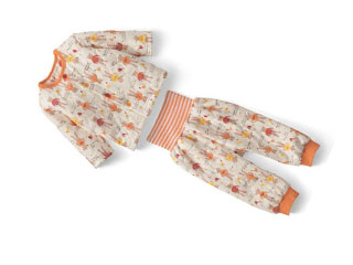 腹巻き付き長袖前開きセパレートパジャマ