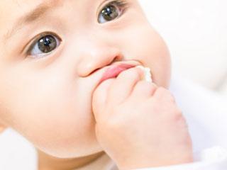 パンを咥える赤ちゃん