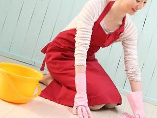 手洗いでカーペットを綺麗に掃除する主婦