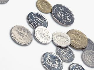 様々な国の大量のコイン