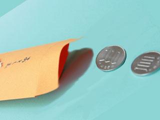 ポチ袋と硬貨の金額表